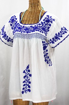 """La Marina Corta"" Embroidered Mexican Peasant Blouse - White + Blue"