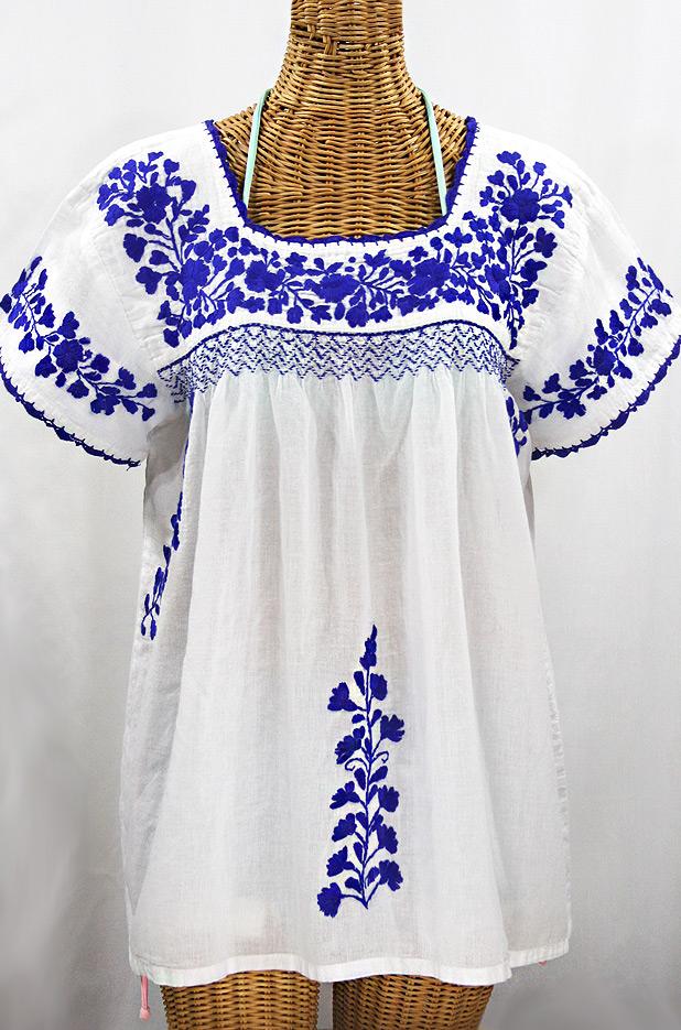 """""""La Marina Corta"""" Embroidered Mexican Peasant Blouse - White + Blue"""