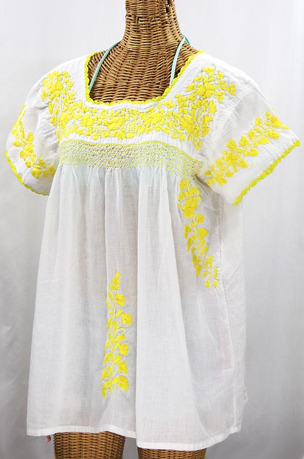 """La Marina Corta"" Embroidered Mexican Peasant Blouse - White + Yellow"