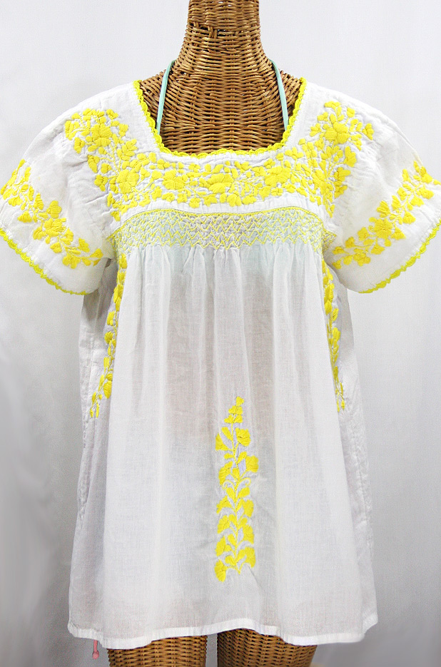 """La Marina Corta"" Embroidered Mexican Peasant Blouse - White + Yellow"