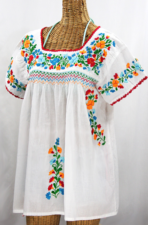 """La Marina Corta"" Embroidered Mexican Peasant Blouse - White + Fiesta"