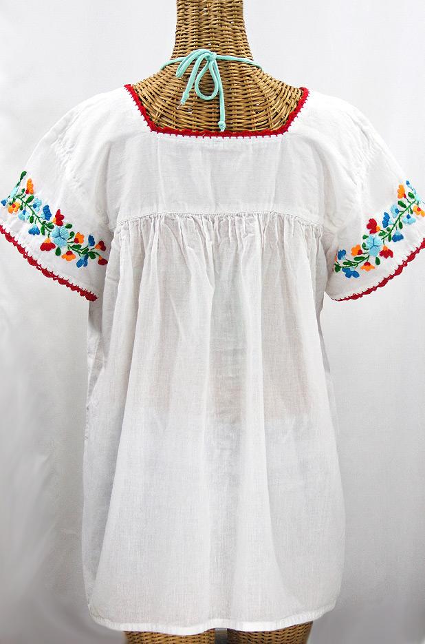 """""""La Marina Corta"""" Embroidered Mexican Peasant Blouse - White + Fiesta"""