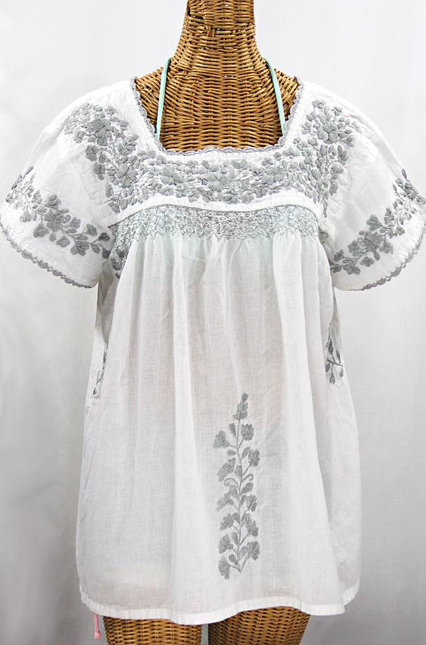 """""""La Marina Corta"""" Embroidered Mexican Peasant Blouse - White + Grey"""