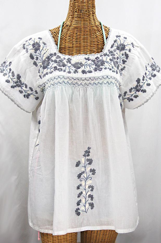 """La Marina Corta"" Embroidered Mexican Peasant Blouse - White + Shades of Grey"