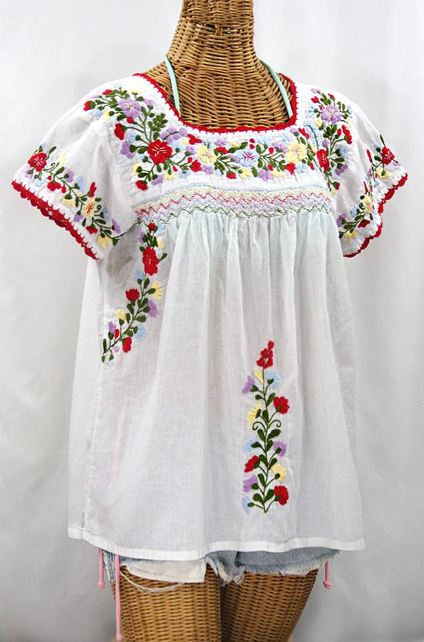 """""""La Marina Corta"""" Embroidered Mexican Peasant Blouse - White + Multi"""