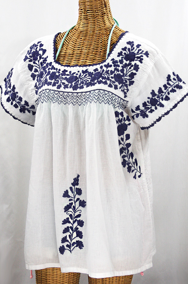 """La Marina Corta"" Embroidered Mexican Peasant Blouse - White + Navy"