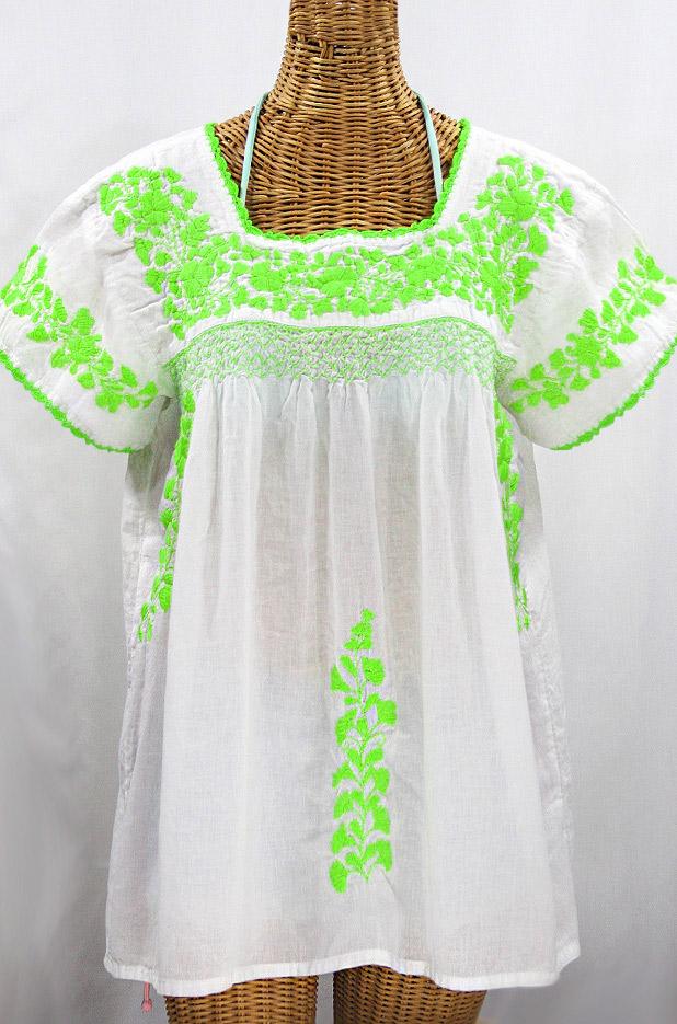 """""""La Marina Corta"""" Embroidered Mexican Peasant Blouse - White + Neon Green"""