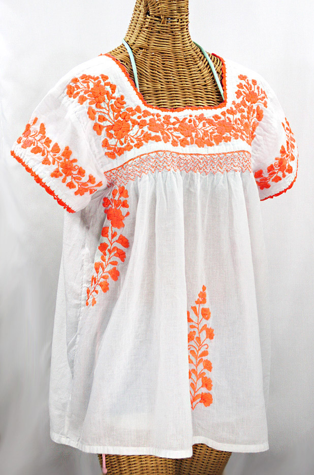 """La Marina Corta"" Embroidered Mexican Peasant Blouse - White + Neon Orange"