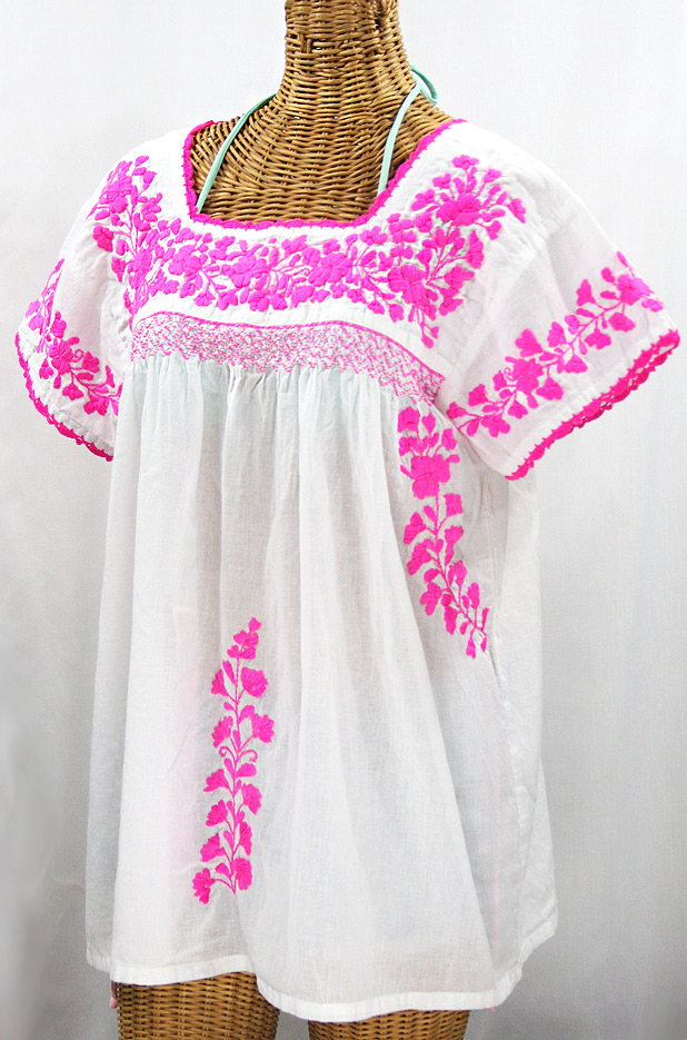 """La Marina Corta"" Embroidered Mexican Peasant Blouse - White + Neon Pink"