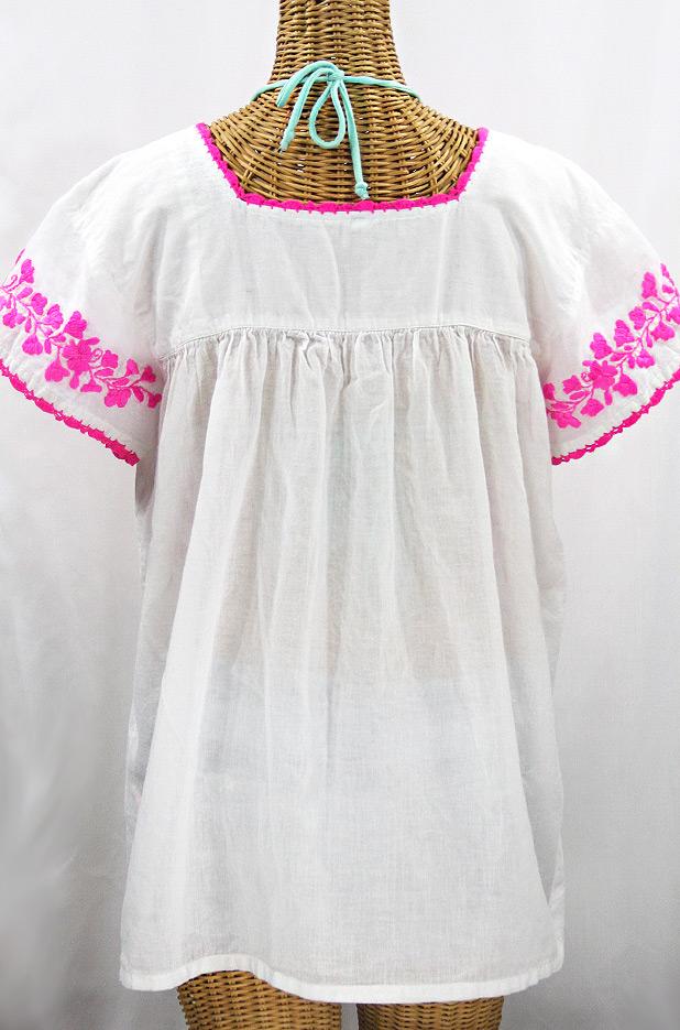 """La Marina Corta"" Embroidered Mexican Peasant Blouse - White + Neon Pink"
