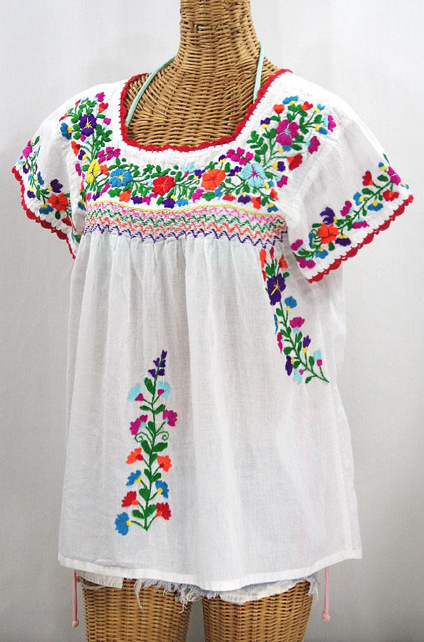 """La Marina Corta"" Embroidered Mexican Peasant Blouse - White + Rainbow + Red Trim"