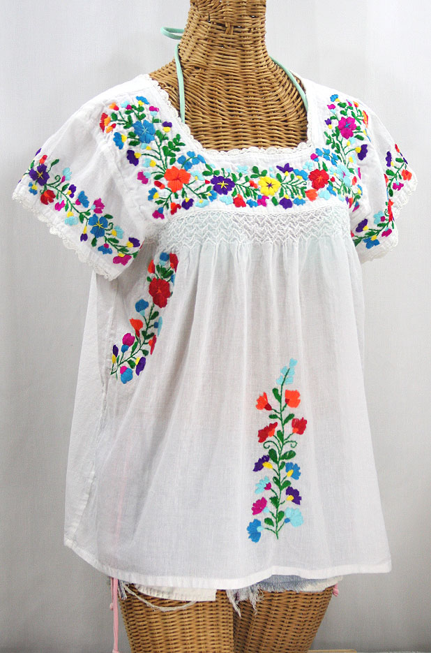 """La Marina Corta"" Embroidered Mexican Peasant Blouse - White + Rainbow + White Trim"