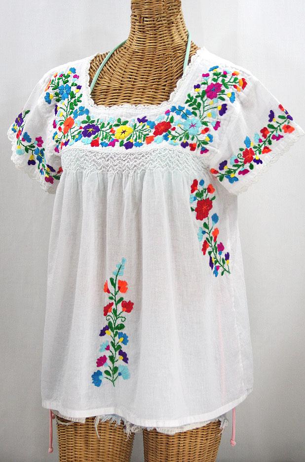 """""""La Marina Corta"""" Embroidered Mexican Peasant Blouse - White + Rainbow + White Trim"""