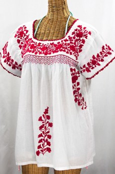 """La Marina Corta"" Embroidered Mexican Peasant Blouse - White + Red"
