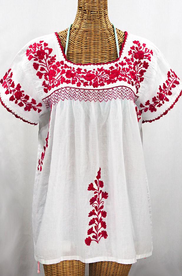 """La Marina Corta"" Embroidered Mexican Peasant Blouse - White + Red"
