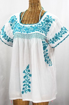 """La Marina Corta"" Embroidered Mexican Peasant Blouse - White + Turquoise"