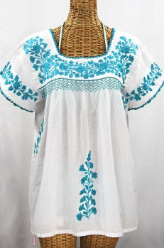 """La Marina Corta"" Embroidered Mexican Peasant Blouse - White + Turquoise"