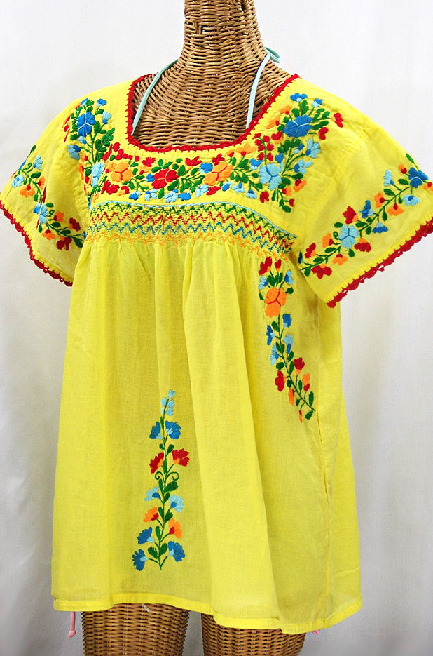 """La Marina Corta"" Embroidered Mexican Peasant Blouse - Yellow + Fiesta"