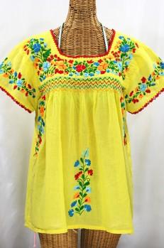 """La Marina Corta"" Embroidered Mexican Peasant Blouse - Yellow + Fiesta"