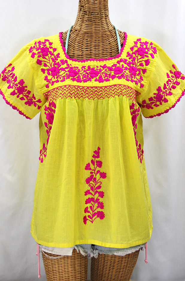 "55% Off Final Sale ""La Marina Corta"" Embroidered Mexican Peasant Blouse - Yellow + Magenta"