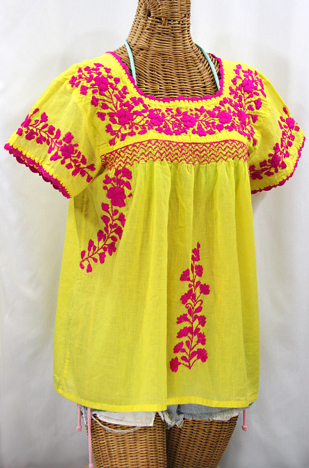 """La Marina Corta"" Embroidered Mexican Peasant Blouse - Yellow + Magenta"