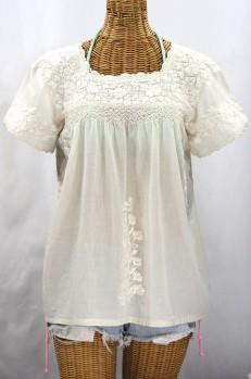 """""""La Marina Corta"""" Embroidered Mexican Peasant Blouse - All Off White"""