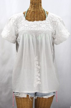 """La Marina Corta"" Embroidered Mexican Peasant Blouse - All White"