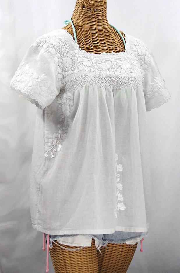 """""""La Marina Corta"""" Embroidered Mexican Peasant Blouse - All White"""