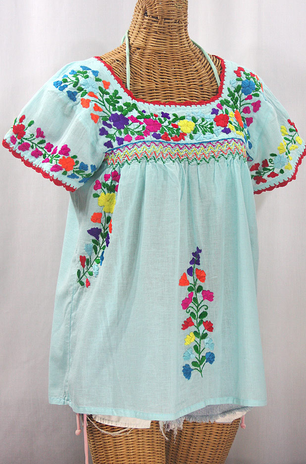 """La Marina Corta"" Embroidered Mexican Peasant Blouse - Pale Blue + Rainbow Block"