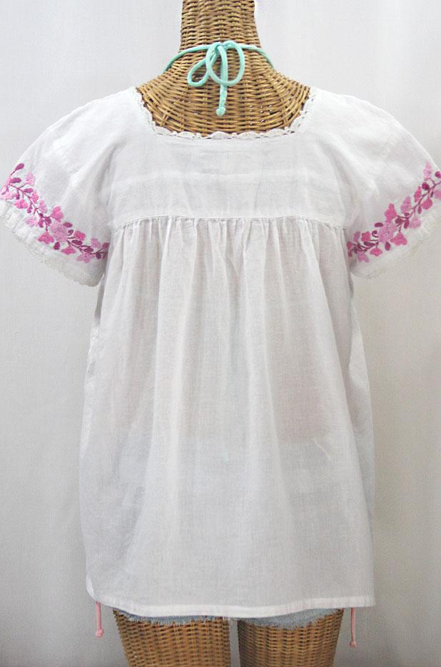 """La Marina Corta"" Embroidered Mexican Peasant Blouse - White + Berry Mix"