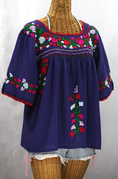 """""""La Marina"""" Embroidered Mexican Peasant Blouse -Denim + Bright Multi"""