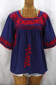 """""""La Marina"""" Embroidered Mexican Peasant Blouse - Denim + Red"""