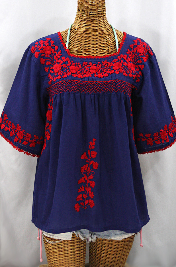 """La Marina"" Embroidered Mexican Peasant Blouse - Denim + Red"