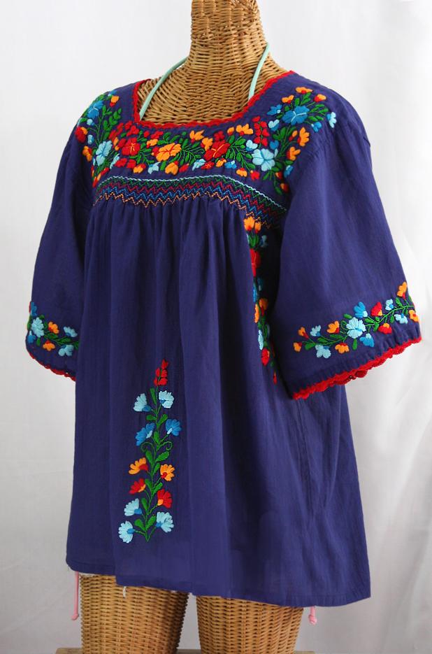 """La Marina"" Embroidered Mexican Peasant Blouse -Denim + Fiesta"