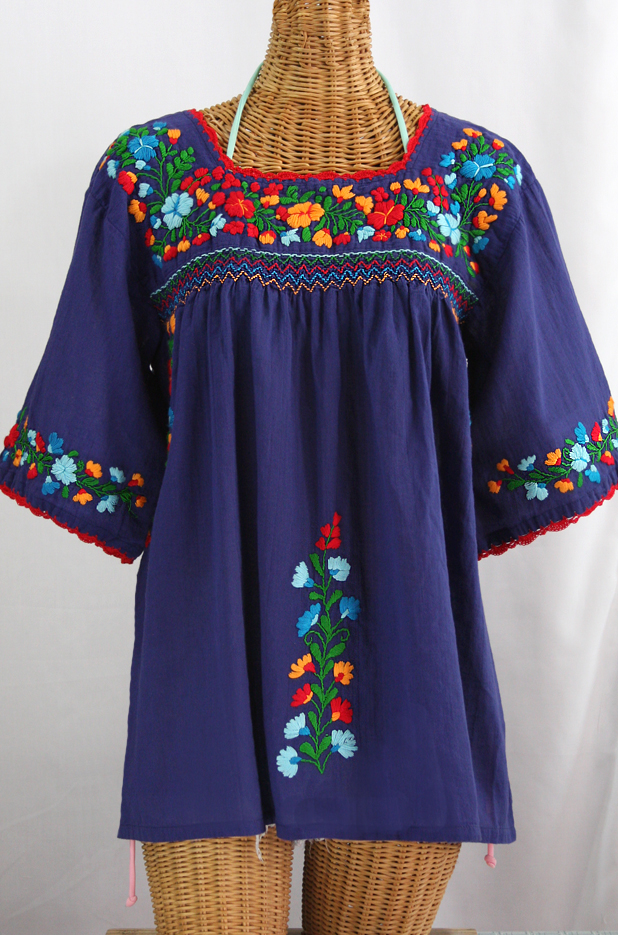 La Marina Embroidered Mexican Peasant Blouse Denim Fiesta