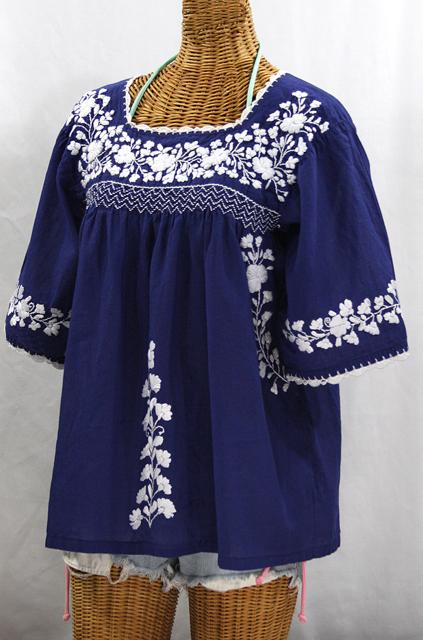 """La Marina"" Embroidered Mexican Peasant Blouse -Denim Blue + White Embroidery"
