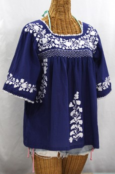 """La Marina"" Embroidered Mexican Peasant Blouse -Denim Blue + White Embroidery"
