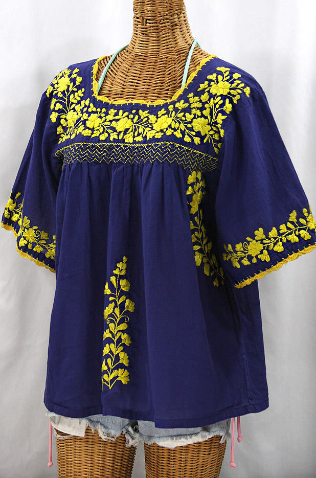 """La Marina"" Embroidered Mexican Peasant Blouse - Denim + Yellow"