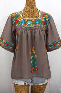 """La Marina"" Embroidered Mexican Peasant Blouse -Fog Grey + Fiesta"