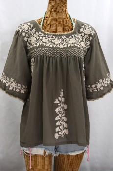 """La Marina"" Embroidered Mexican Peasant Blouse - Fog Grey + Cream Embroidery"