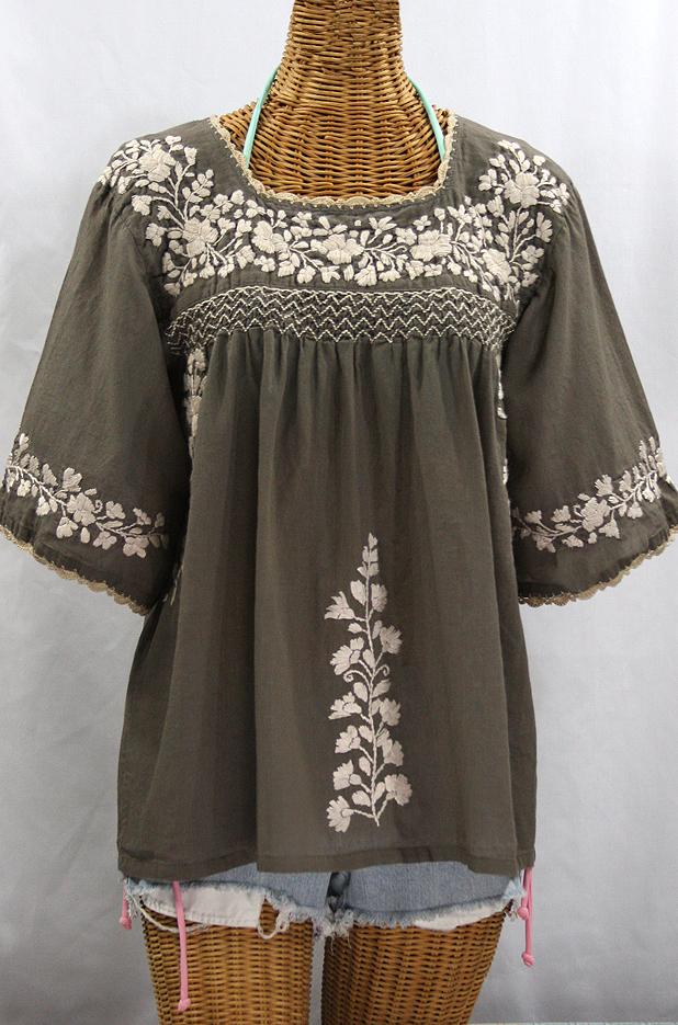"""La Marina"" Embroidered Mexican Peasant Blouse - Fog Grey + Cream Embroidery"