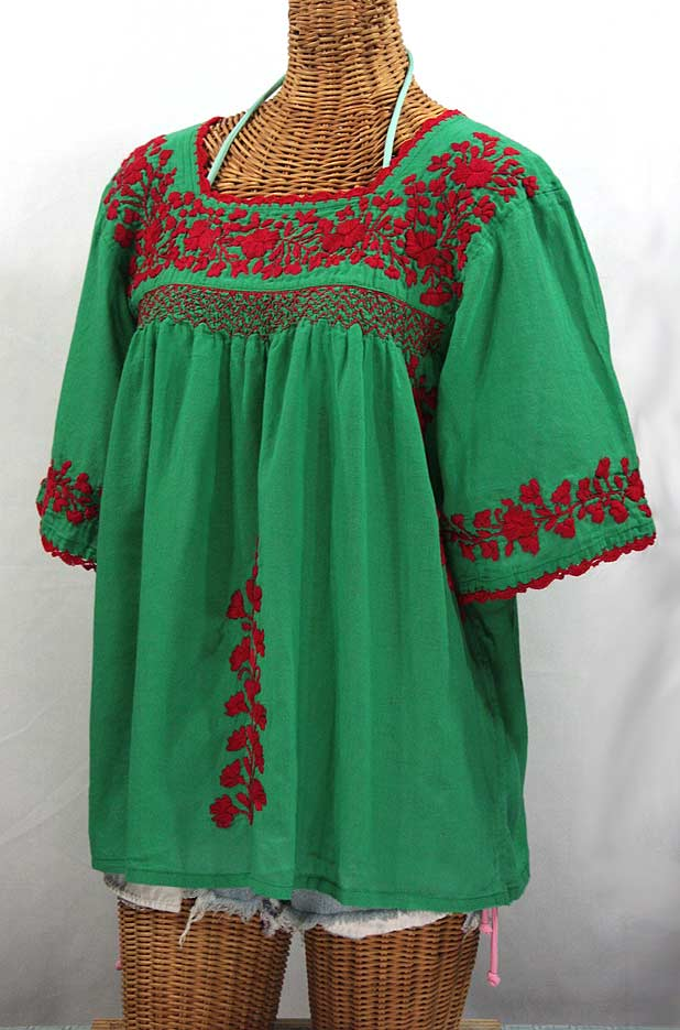 """50% Off Final Sale """"La Marina"""" Embroidered Mexican Blouse - Green + Red Embroidery"""