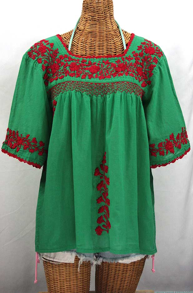 "50% Off Final Sale ""La Marina"" Embroidered Mexican Blouse - Green + Red Embroidery"