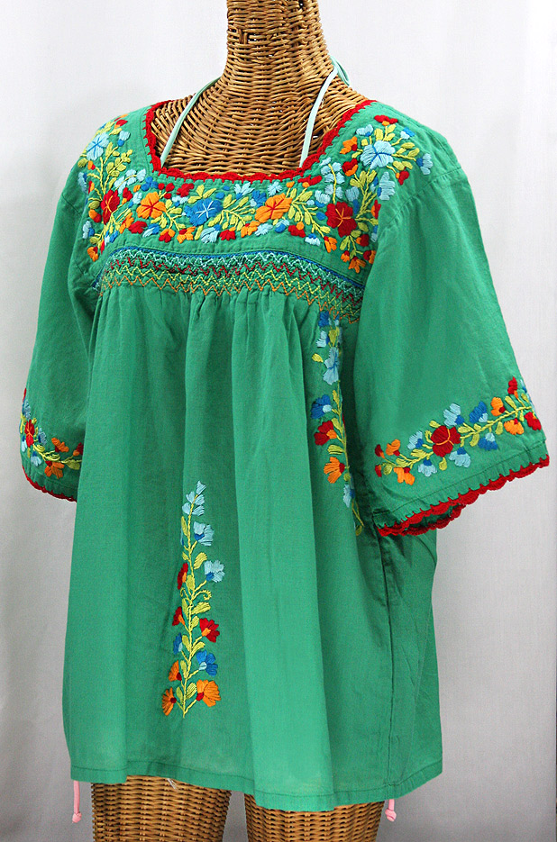 """La Marina"" Embroidered Mexican Peasant Blouse -Green + Spring Multi"