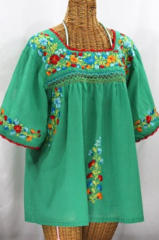 """""""La Marina"""" Embroidered Mexican Peasant Blouse -Green + Spring Multi"""