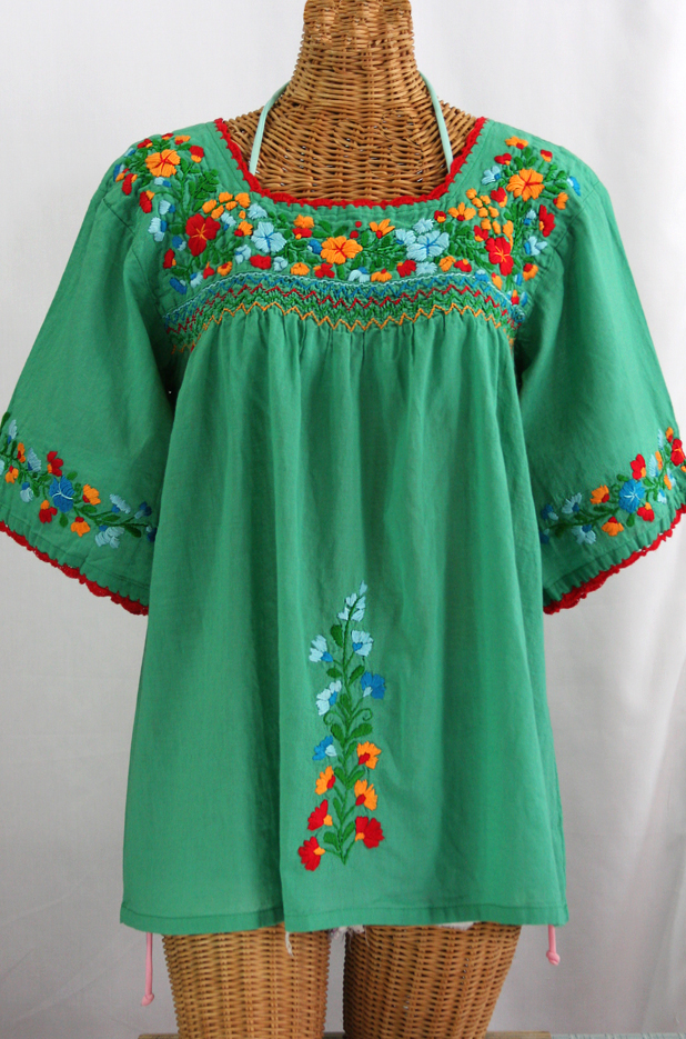 """La Marina"" Embroidered Mexican Peasant Blouse -Green + Fiesta"