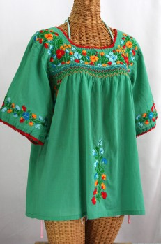 """La Marina"" Embroidered Mexican Peasant Blouse -Green + Fiesta"