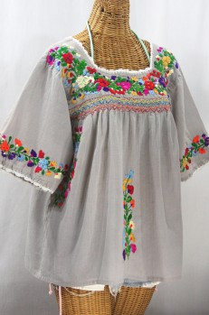 """La Marina"" Embroidered Mexican Peasant Blouse - Grey + Jewel Rainbow Embroidery"