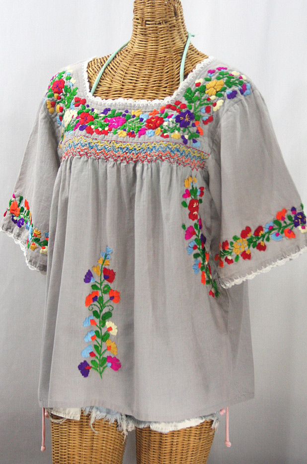 """""""La Marina"""" Embroidered Mexican Peasant Blouse - Grey + Jewel Rainbow Embroidery"""