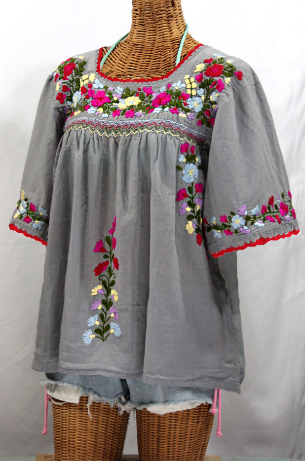 """La Marina"" Embroidered Mexican Peasant Blouse -Grey + Multi Embroidery"